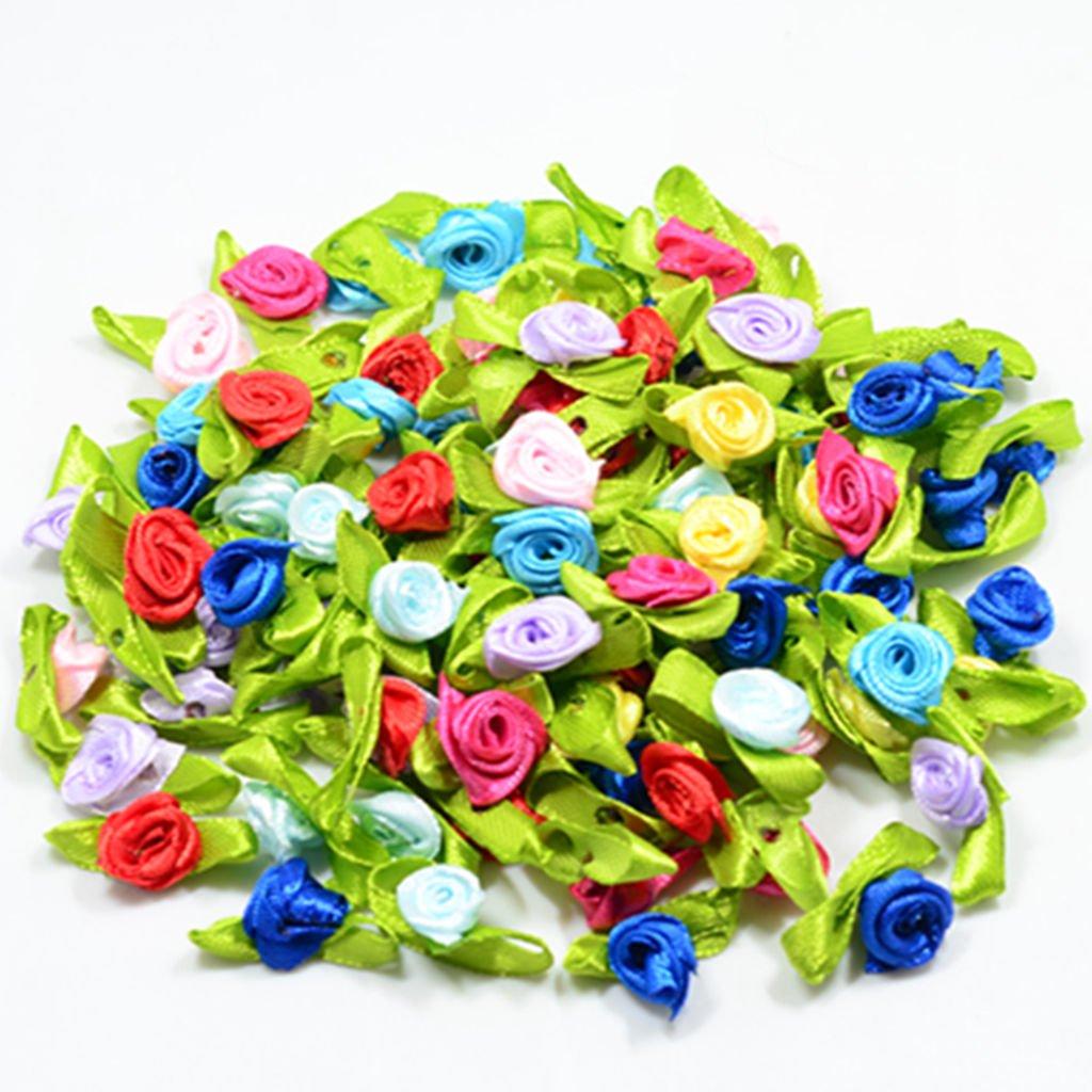100Pcs Mini Satin Ribbon Rose Flower Wedding Decor Appliques Craft Sewing Leaves