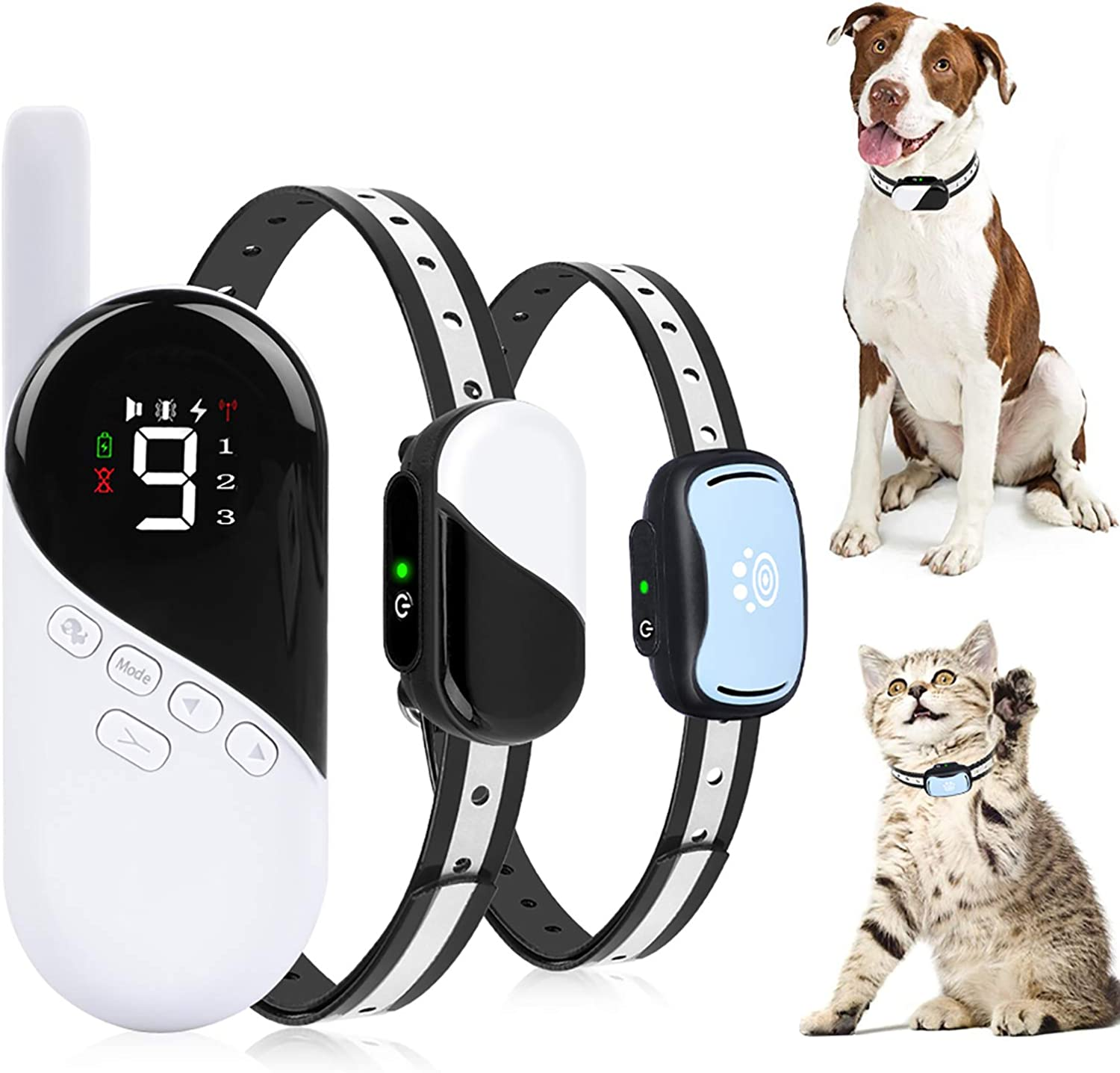 Dog Training Collar - Rechargeable Dog Shock Collar w/3 Modes, Beep, Vibration and Shock, Waterproof Pet Behaviour Training for Extra Small, Medium, Large Dogs