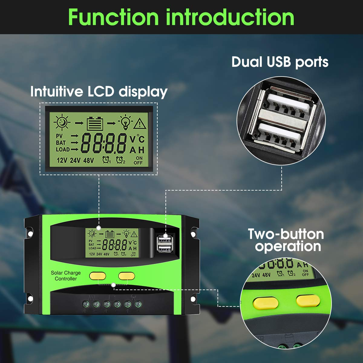 MOHOO Solar Charge Controller, 30A Solar Charger Controller, 12V/24V Solar Panel Intelligent Regulator with Dual USB Port and PWM LCD Display by MOHOO (Image #2)