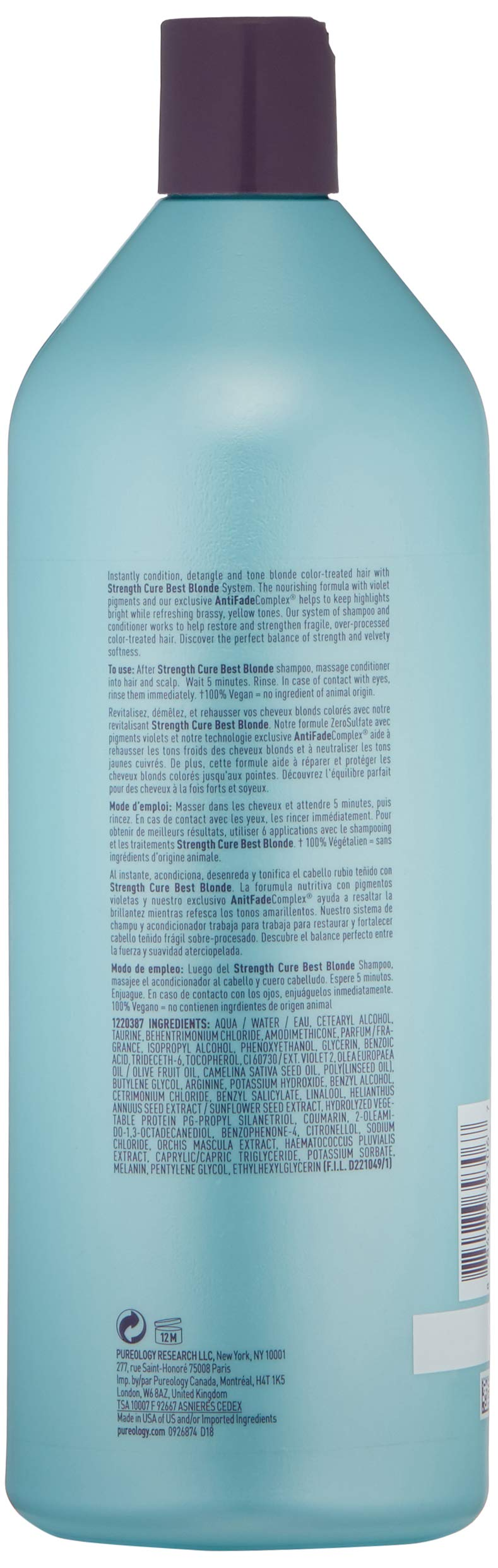 Pureology Strength Cure Best Blonde Purple Conditioner, 33.8 fl. oz. by Pureology (Image #2)