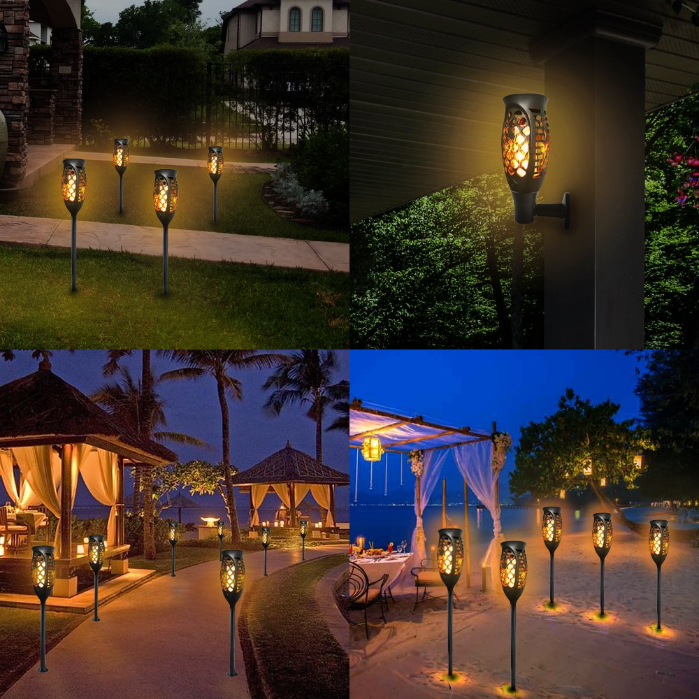 Petrala Solar Lights Outdoor Torch Light 3 Modes Dancing Flames Waterproof Dusk to Dawn Auto On Off Warm Path Lighting for Patio Garden Path Driveway, 4 Pack by Petrala (Image #10)