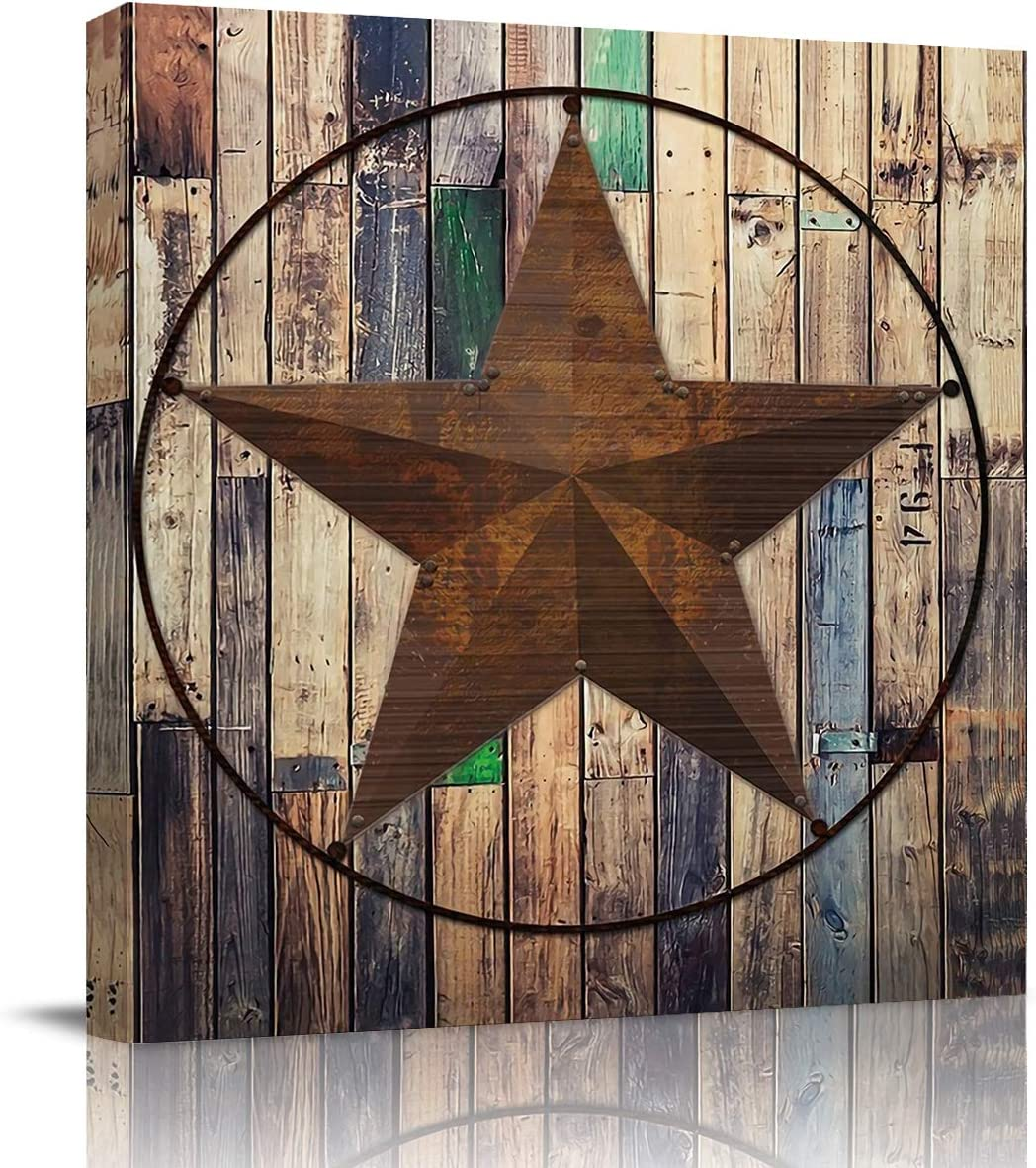 Wall Art Oil Paintings on Canvas Print Rustic Vintage Western Texas Star Barn Wooden Office Artwork Home Decoration Living Room Bedroom Bathroom Giclee Walls Decor,Wooden Framed Ready to Hang 12x12in