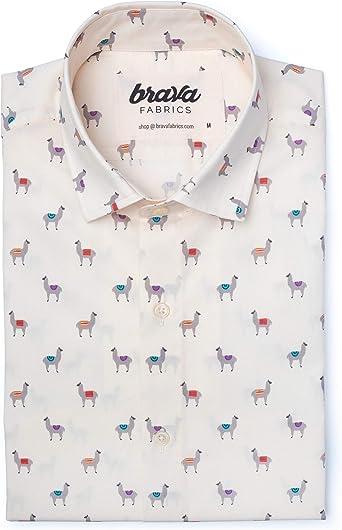 Brava Fabrics | Camisa Hombre Manga Larga Estampada | Camisa Azul para Hombre | Camisa Casual Regular Fit | 100% Algodón | Modelo Llama Llama | Talla: Amazon.es: Ropa y accesorios