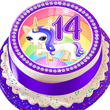 PRECUT Edible Decoration Icing Sheet 75 INCH Round Cake Topper Purple Unicorn 14TH Birthday UL14 Amazoncouk Kitchen Home