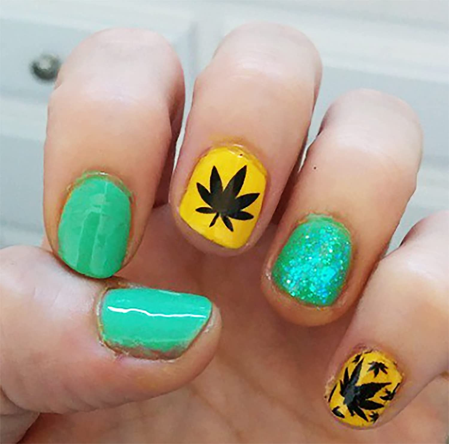 Amazon.com: Marijuana Pot Leaf Water Slide Nail Art Decals Set #1 ...