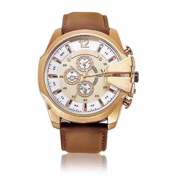 General de los hombres falsos tres - ojo anillo doble - digital cuarzo reloj clásico Business Casual Fashion diseño para niños Boy Color Marrón Con Blanco ...