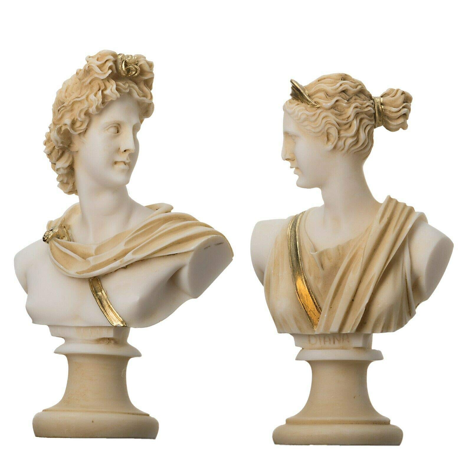 Artemis Diana and Apollo Bust Greek Statues Figurine Gods Gold Tone 5.9'' by BeautifulGreekStatues