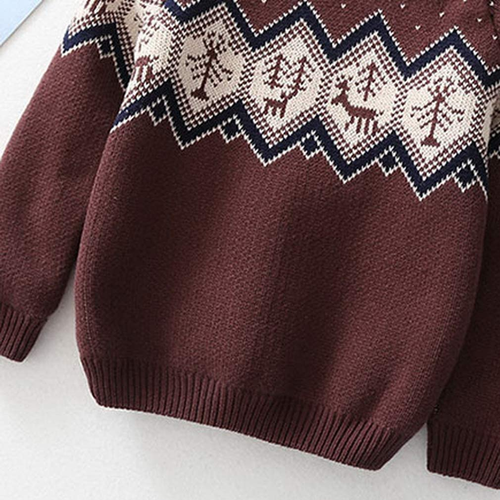 GEMVIE Kids Toddler Boys Winter Warm Knit Cartoon Sweaters Long Sleeve Fleece Lined Pullover Jumpers
