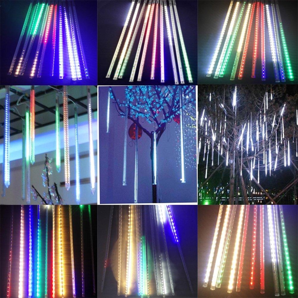 Victorstar @ 50CM 10 Tubos 600 LED lluvia de Meteoritos Luz / Nevadas luz / Nevadad Luz para Fiesta, Boda, Navidad, Paisaje de la Decoración - Lados Dobles Iluminación Impermeable IP65 (Luz Multicolor) SFL-10RGB-500