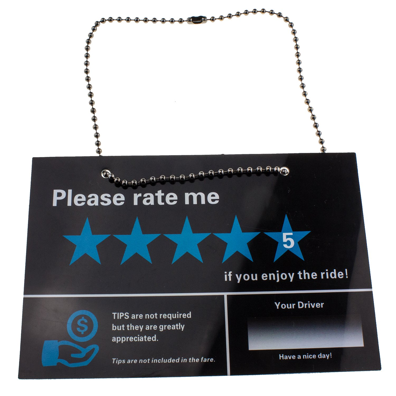 Veezy Tip Sign Uber Lyft Rate Me Sign Ride Sharing 2 Pack