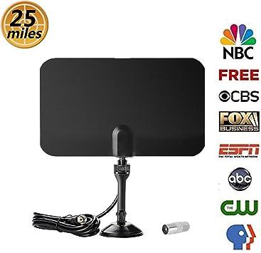 Amatt - Antena de TV HD de 120 Millas para Interiores HD para TV Digital y señales de TV analógicas HD con 1080P VHF/UHF/FM, Antena de Ventana, diseño Suave: Amazon.es: Electrónica