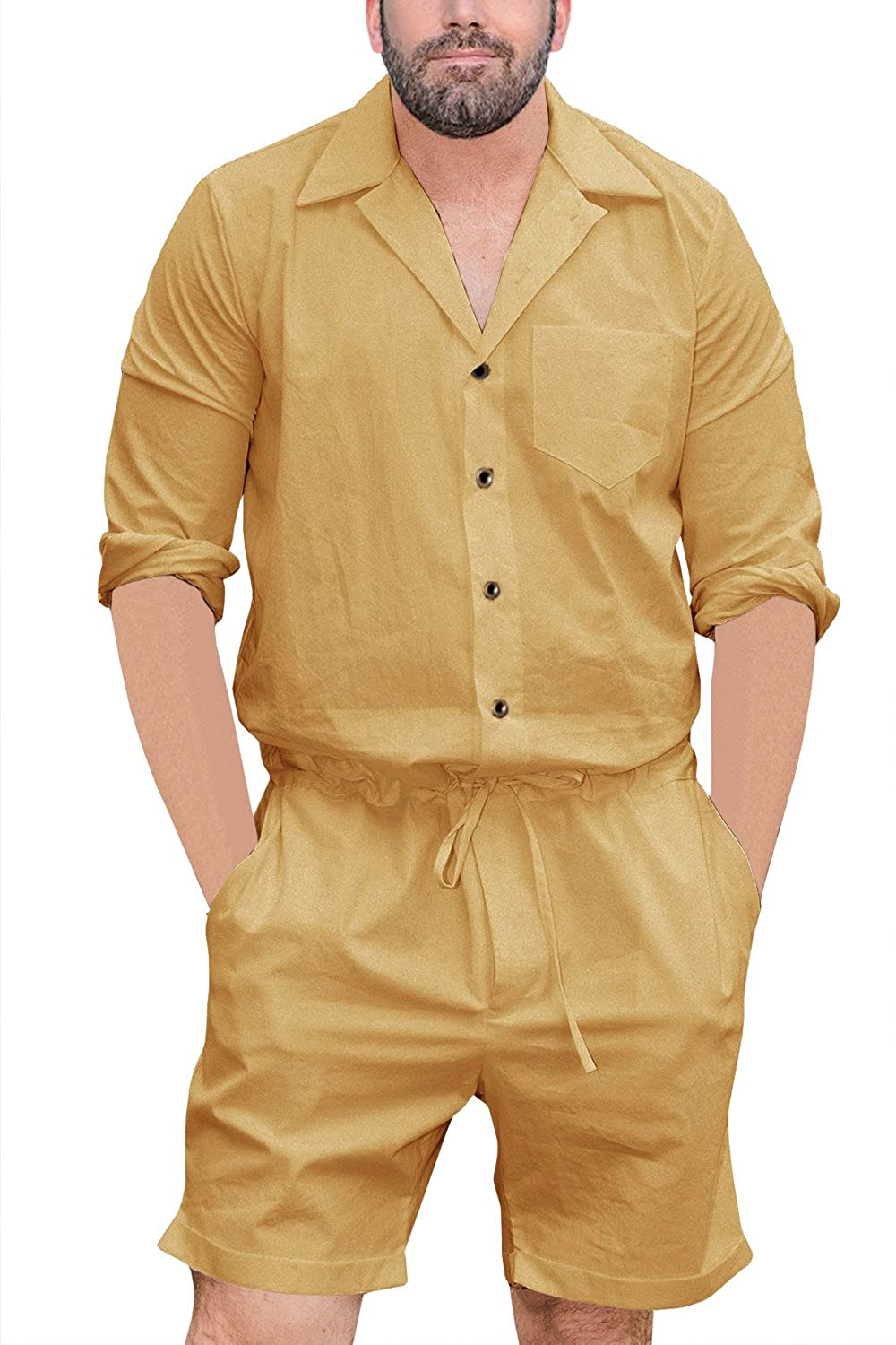 Makkrom Mens Rompers Jumpsuits One Piece Long Sleeve Shirt Drawstring Shorts Casual Plain Coverall with Pockets