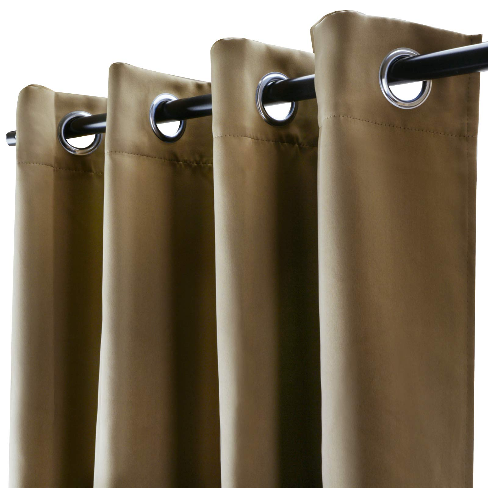 Voilarmart Blackout Curtains 52 x 95 Thermal Insulated Light Reducing Grommet Top Window Curtain Set for Bedroom, Living Room,2 Panels - Khaki