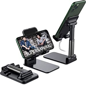 Foldable Cell Phone Stand, Yoozon [2021 Updated] Angle & Height Adjustable Desk Phone Holder with Stable Anti-Slip Design Compatible with iPhone 12/12 Pro/Smartphones/iPad Mini/Kindle