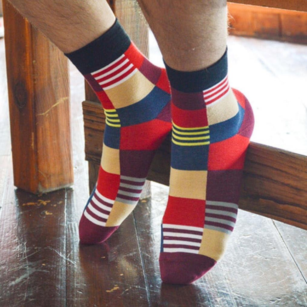 Men Socks Easytoy 1 Pair Man Plaid Print Colorful All Match Socks Orange