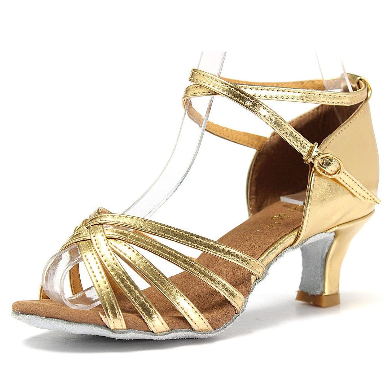 Mujer Zapatos Tacon - Generico 1 par Mujer Zapatos Tacon De Salsa Bachata Latinos Baile Sandalias Latin Shoe, Dorado 38 077427C5