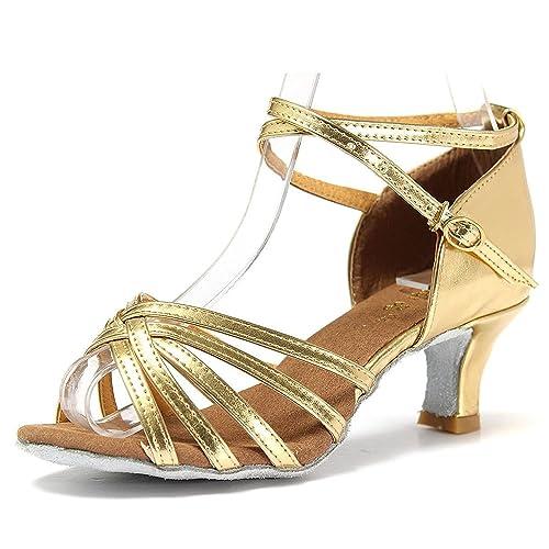 Mujer Zapatos Tacon - Generico 1 par Mujer Zapatos Tacon De Salsa Bachata Latinos Baile Sandalias Latin Shoe, Dorado 39: Amazon.es: Zapatos y complementos