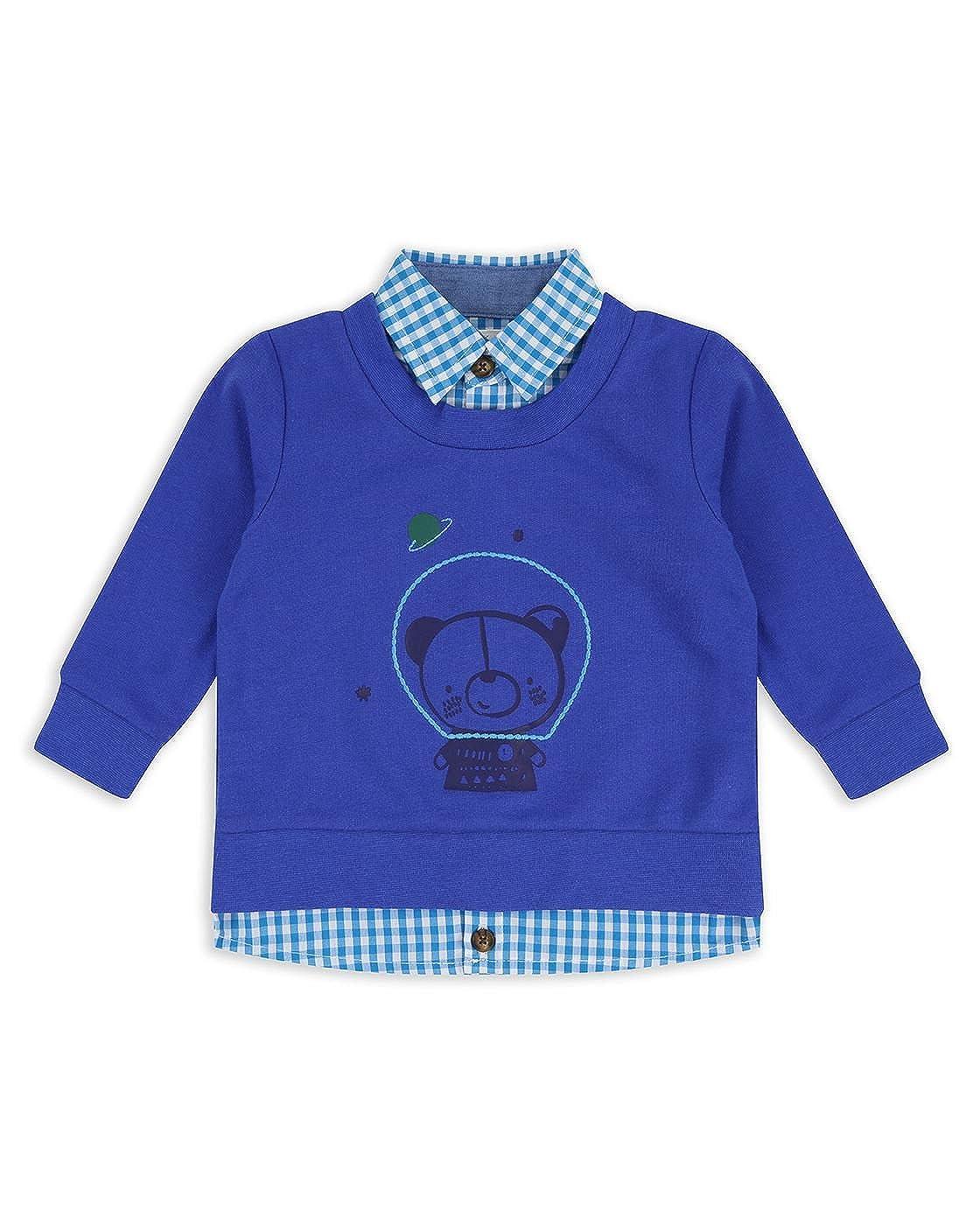The Essential One Baby Kids Boys Mock Shirt Sweatshirt - Blue - EOT475