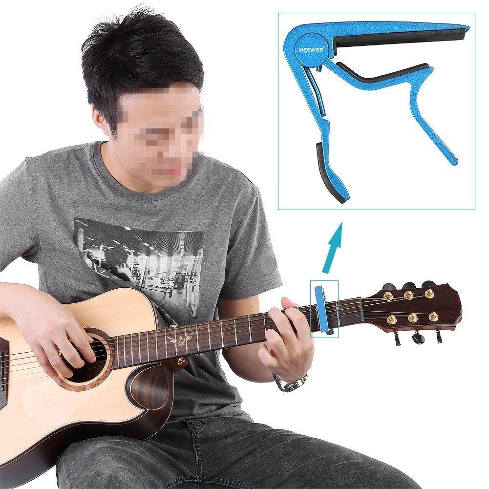 Neewer Nw-1 40085859 - Piezas de seis diferentes colores, aluminio, Tune cambio rápido con una sola mano Guitar Capo: Azul, Negro, Verde, Plata, Oro, ...