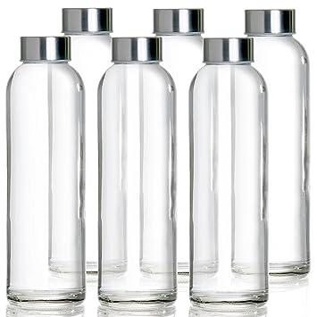 Botella de Cristal 6 pz de 500ml | Botellas de Viaje de Vidrio Para Agua Zumos