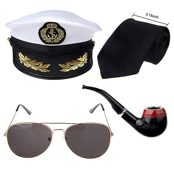 Captains Yacht Sailors Hat Costume Set Hat Corn Cob Pipe Aviator Sunglasses Gangster Tie Sea Cap Navy Costume Accessory