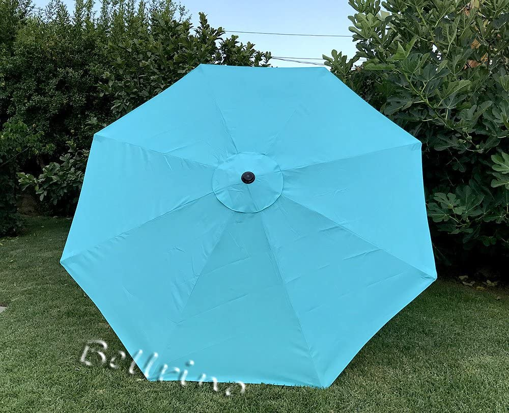 BELLRINO Replacement Peacock Blue Umbrella Canopy for 9 ft 8 Ribs Canopy Only Peacock BLUE-98