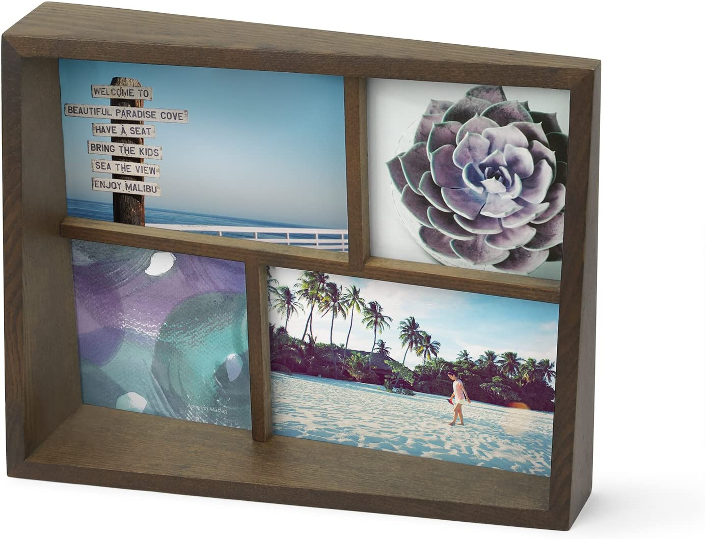 Umbra Edge Wooden Multi-Opening Picture Frame and Photo Display for Desk or Table Top, Aged Walnut