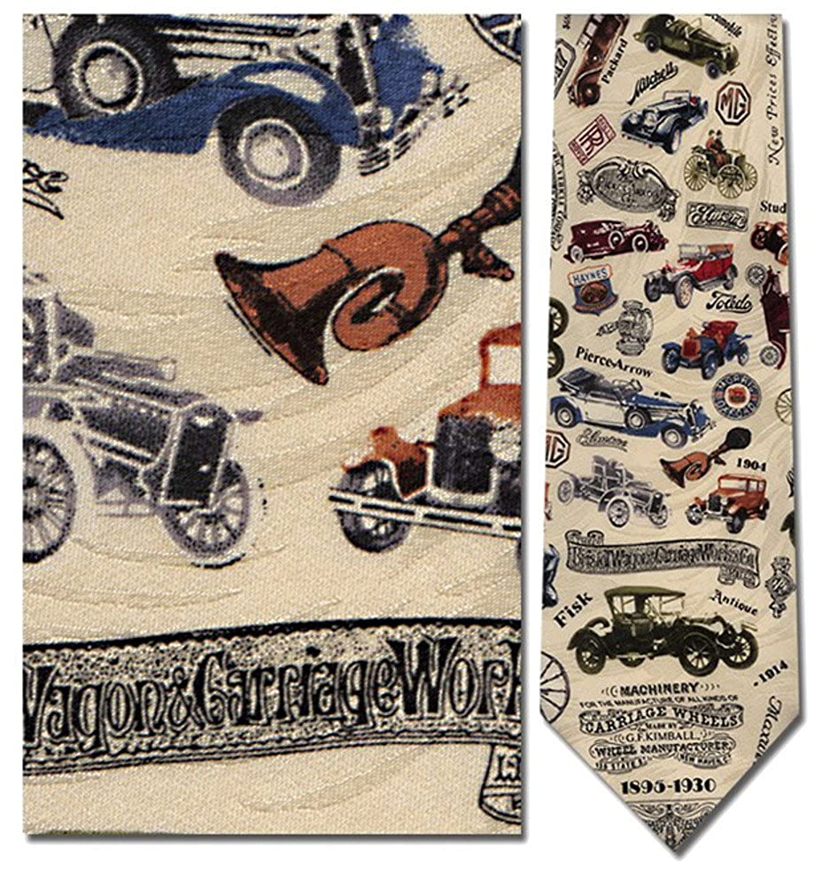 1920s Bow Ties | Gatsby Tie,  Art Deco Tie Mens 100% Silk Beige Antique Cars Tie Necktie $29.95 AT vintagedancer.com