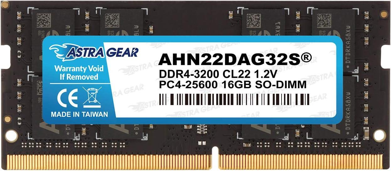 Astra Gear 16GB(16GBx1) 3200MHz(PC4-25600) DDR4 Gaming Laptop Notebook Computer Memory Upgrade Ram Module Non ECC-SO-DIMM 260 Pin(AHN22DAG32S)