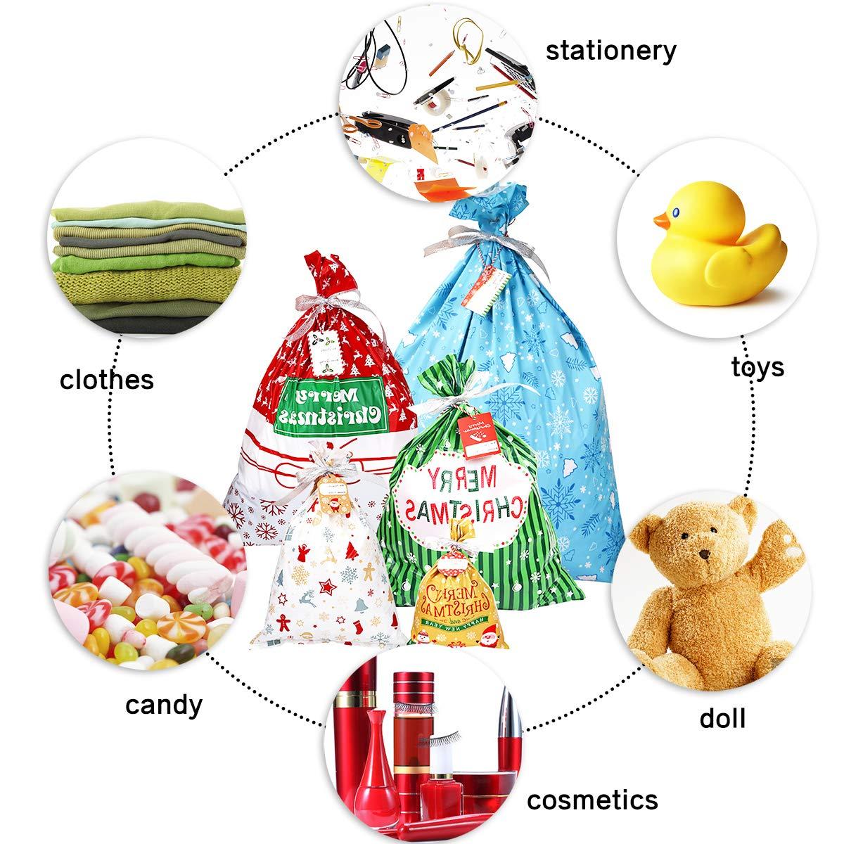 30pz Sacchetti regalo natalizio Dimensioni assortite Buste per regali Sacchetti bomboniere per feste di Natale Sacchetti regalo con lacci a nastro