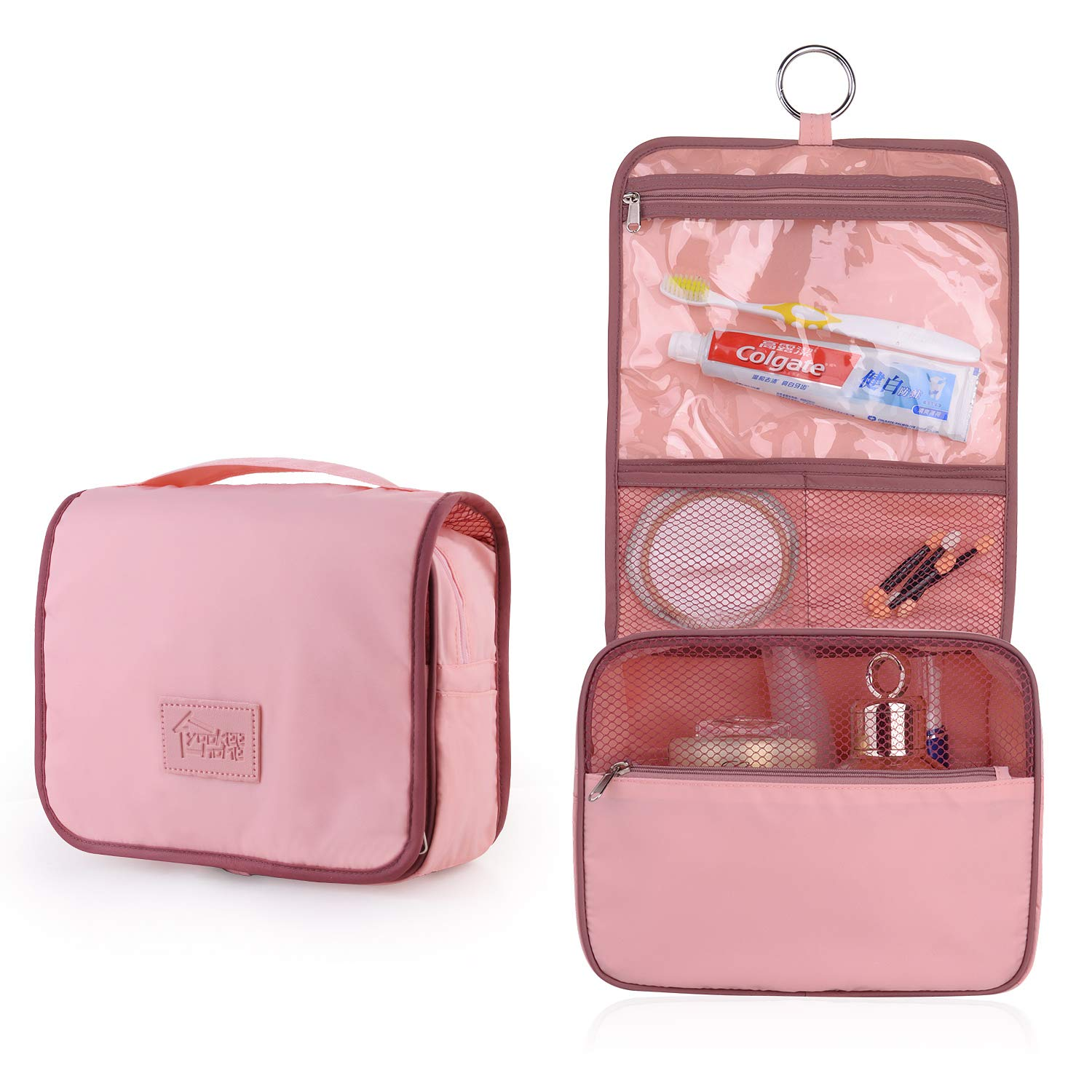 Yookeehome Hanging Toiletry Bag for Women Ring Hanging Hook Multifunction Cosmetic Bag Large Capacity Portable Travel Makeup Pouch Waterproof Various Compartments Pink