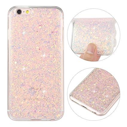 iPhone 6S Hülle, iPhone 6 Glitzer Case Rosa Schleife 3D Bling Shiny Case Transparent TPU Silikon Back Cover Glitter Tasche Ha