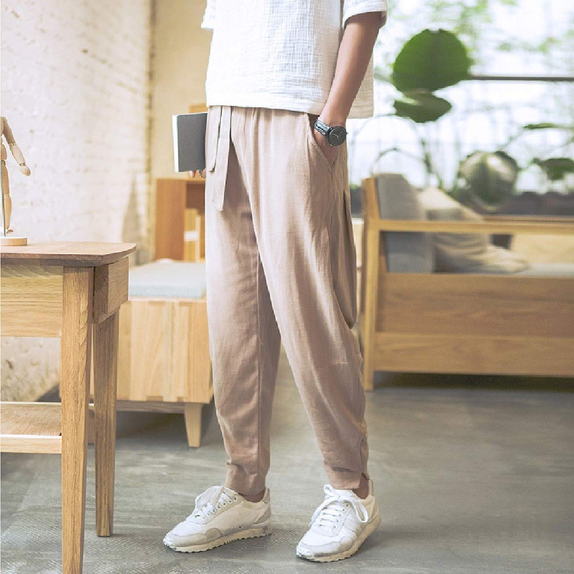Coolred-Men Big Tall Comfy Slant Pocket Lounger Baggy Harem Pull-on Pants