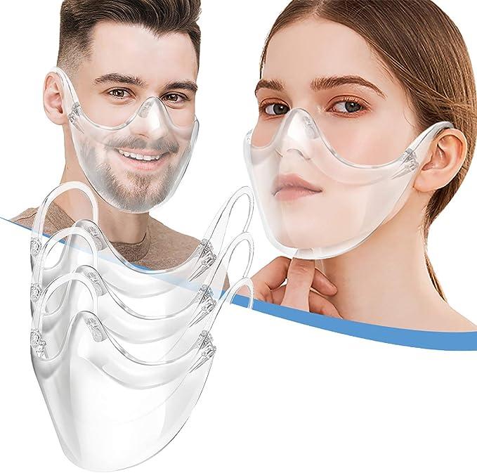 Bandanas transparentes duráveis JCOC, bandanas transparentes combinam bandanas plásticas reutilizáveis para rosto transparente, antiembaçante e respirável, para surdos e difíceis de audição (3 peças) por JCOC