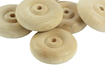 Ruedas de madera sin terminar para juguetes coches, muebles, vagones ...