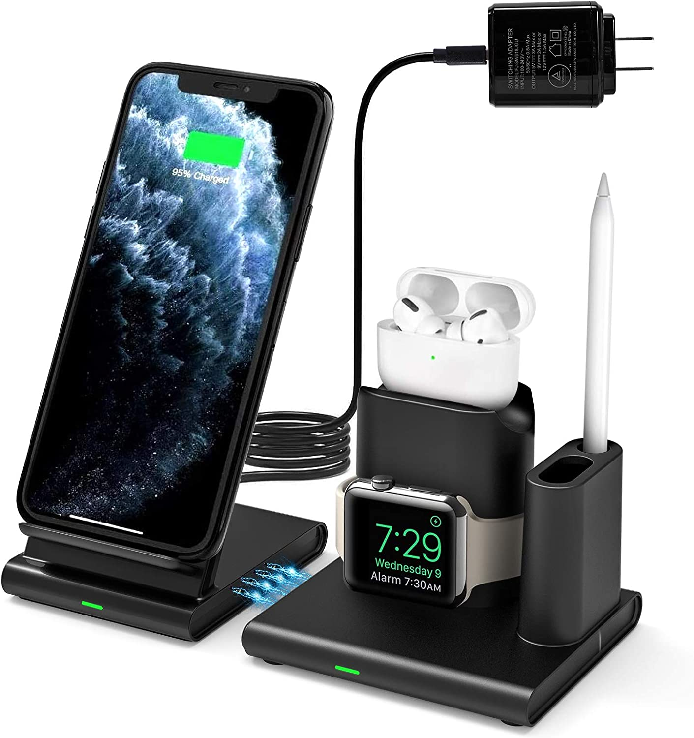 Wireless Charger, WisFox 4 in 1 Qi-Enabled Fast Charging Station Stand Compatible iWatch Airpods 1/2/Pro Air Pencil, iPhone 11/11 Pro/11Pro Max/X/XS/XR/Xs Max/8/8 Plus/Samsung Galaxy Note10/S10/S20