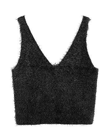 45290238727676 ZAFUL Womens Sleeveless V Neck Cropped Sweater Vest Knit Pullover Slim Fit Tank  Tops(Black