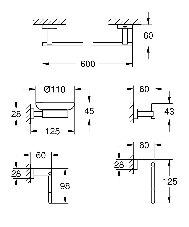 GROHE Set Accessori Bagno 5-in-1 Essentials Cube Cromo 40758001