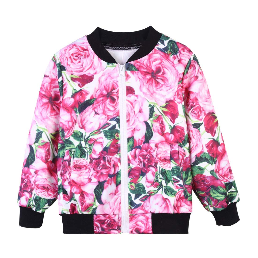 Londony ♪❤ Clearance Sales,Clothing Sets for Little Girls Baby Kids Floral Print Pockets Zip Jacket and Pant Set by Londony