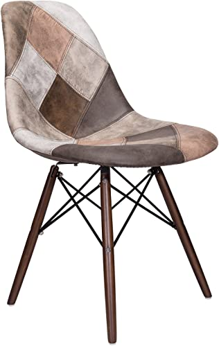 Mooku Brown Patchwork Leatherette Fabric Upholstered DSW Dining Side Accent Chair