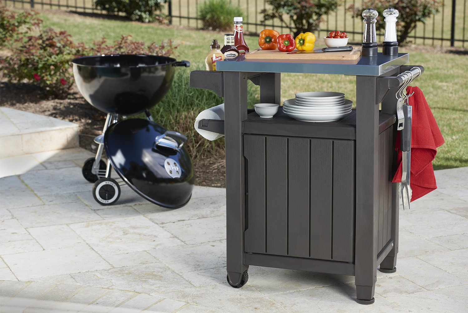 Outdoor Prep Station Serving BBQ Grilling Patio Deck Cabinet Backyard Table by Keter Products (Image #5)