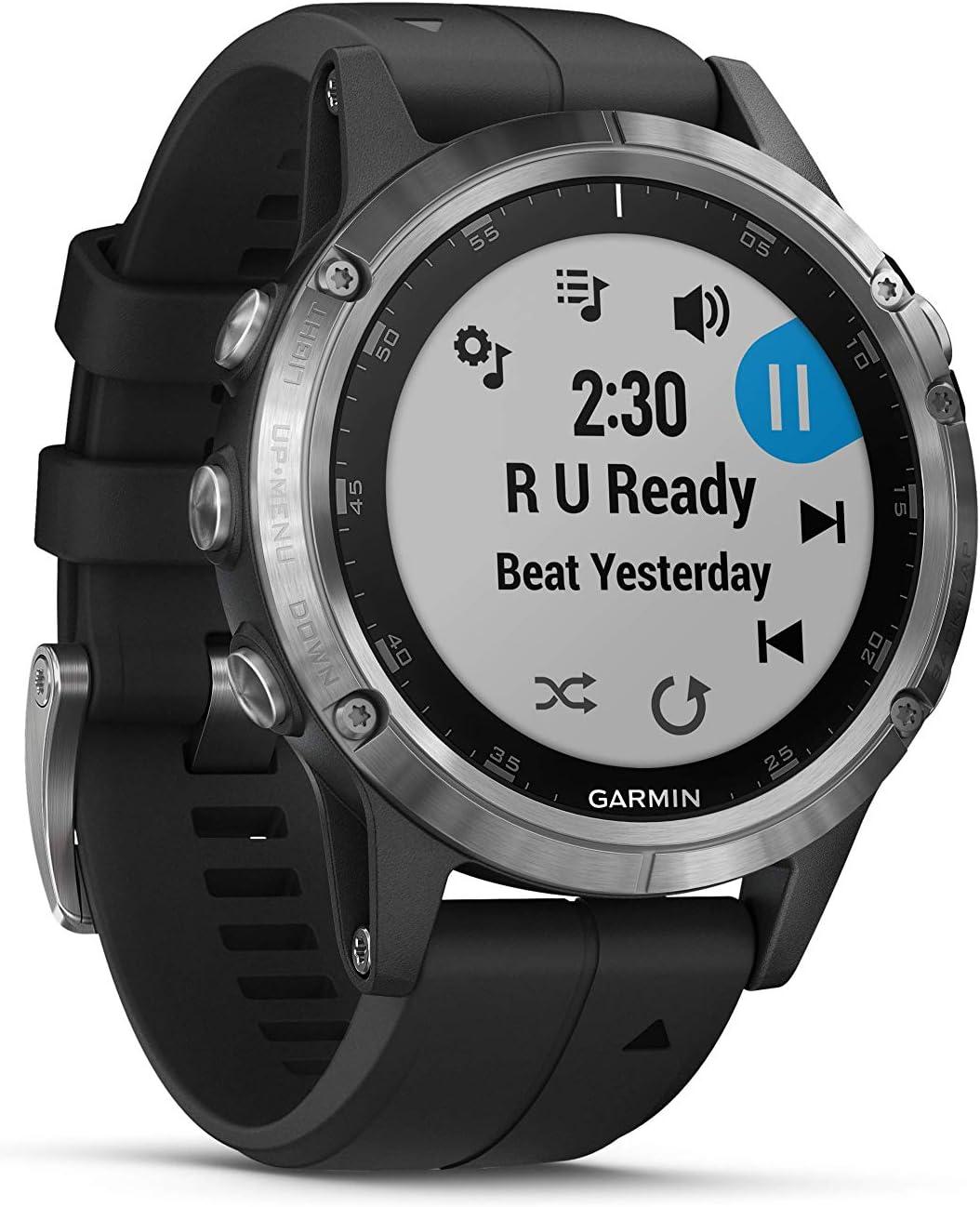 Garmin fēnix 5Plus, Plata Con Pulsera Negra, 010–01988–11–GPS de Multi Sport de Smart Watch con mapas preinstalados, Música & y Garmin Pago