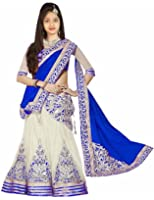 Fashion Vogue_Baby Girl's Semi-Stitched Embroidery white-blue color Lehenga Choli,salwar suit,low price best girls product (Free Size_7 year, 8 year, 9 Year, 10 Year, 11 Year, 12 Year age_999)