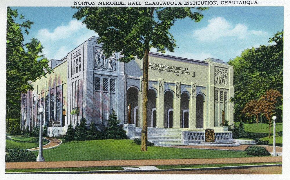 Chautauqua、ニューヨーク – 外部ビューのNorton Memorial Hall 36 x 54 Giclee Print LANT-18448-36x54 36 x 54 Giclee Print  B01MG3R3S3