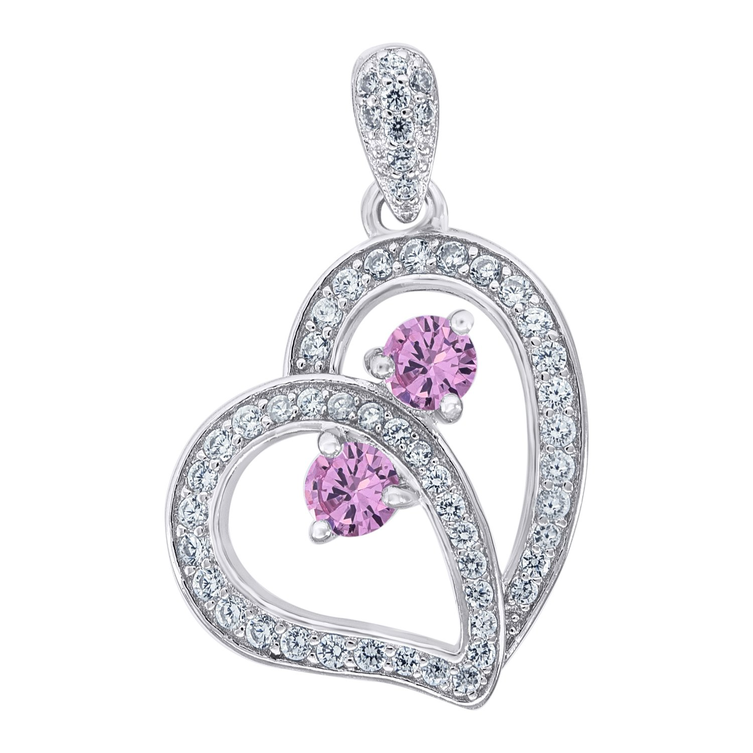 Jewels By Lux 925 Sterling Silver Womens CZ 2 Two Pink Stone Charm Pendant