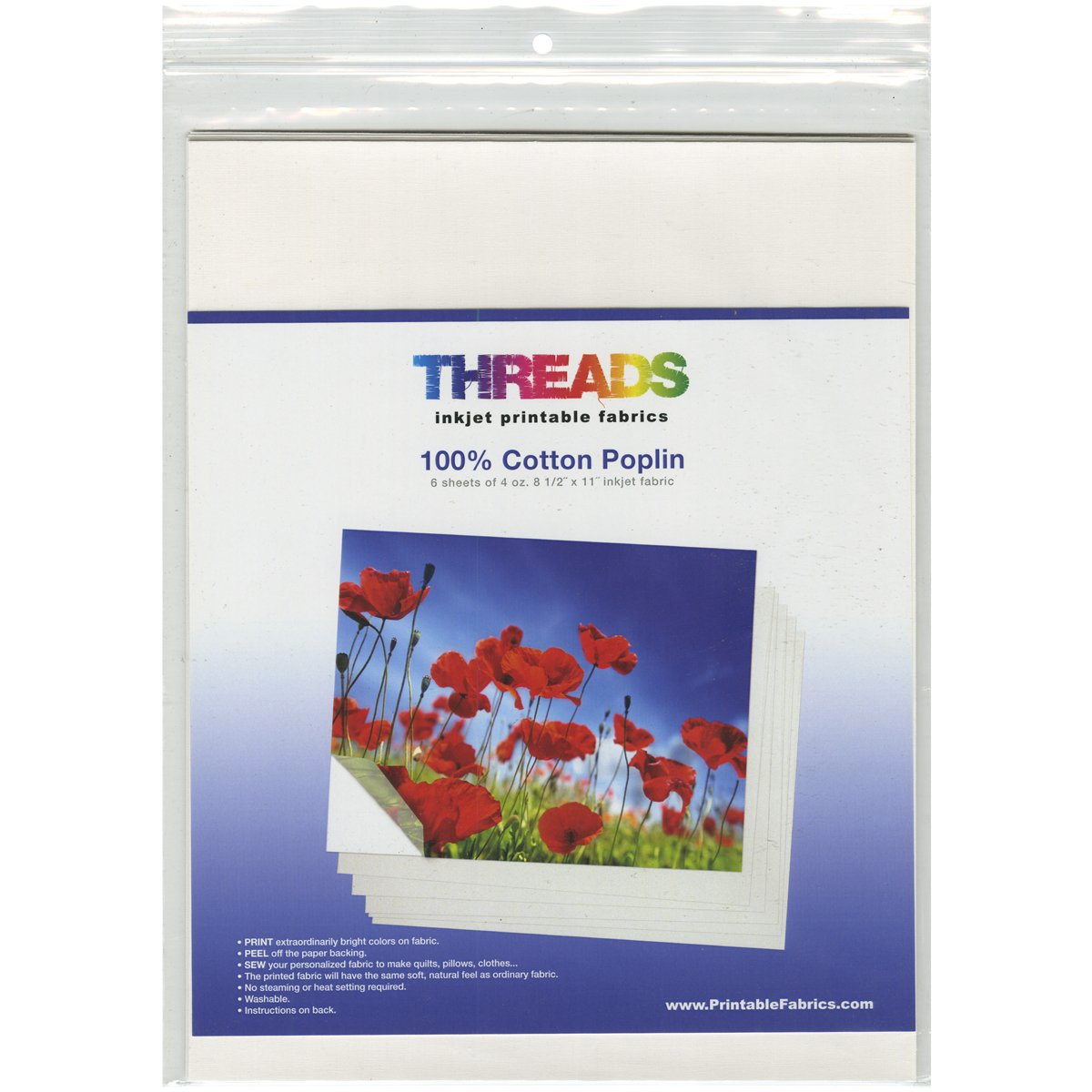 Threads 8.5x11 Fabric Sheets, 8.5'' by 11'', 100% Cotton Poplin