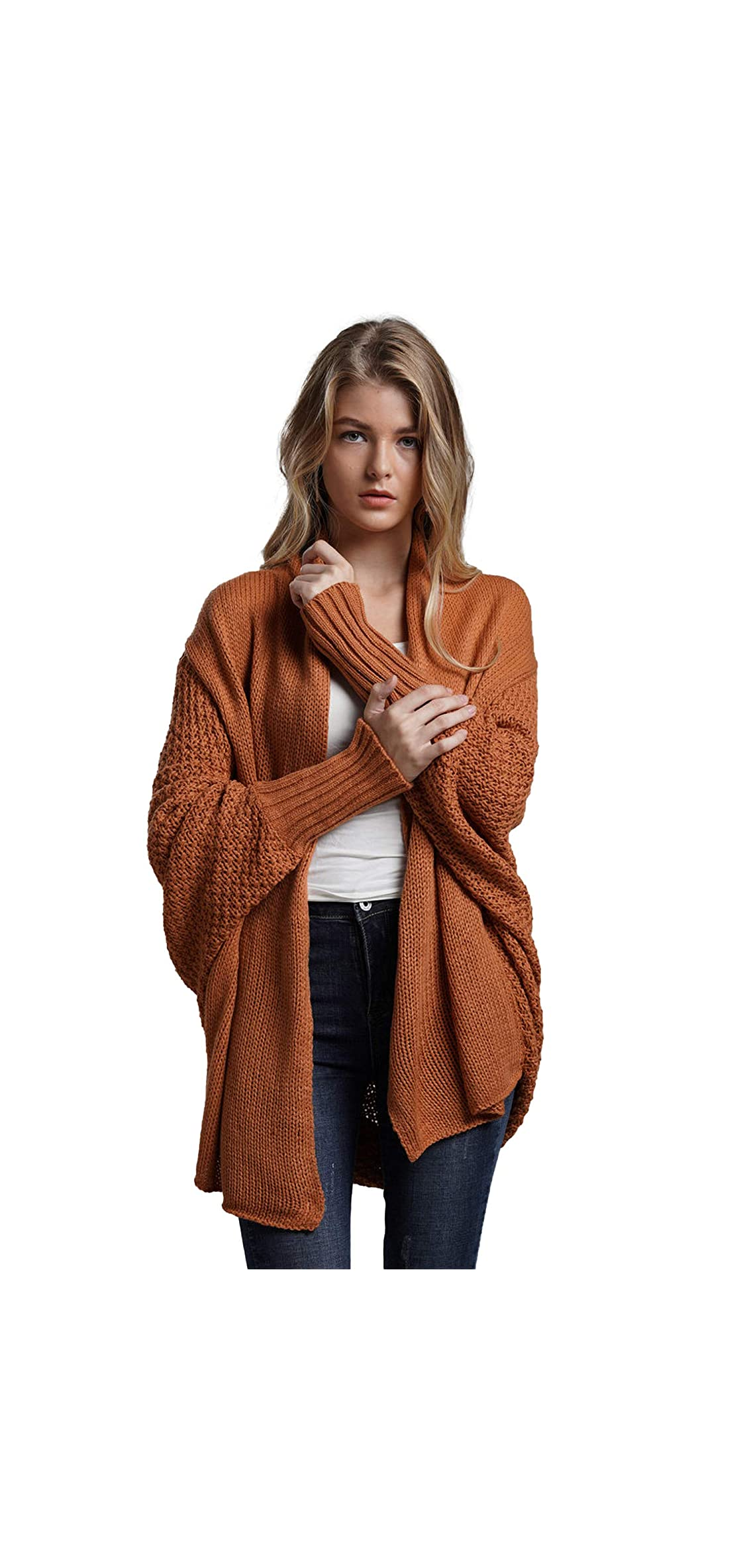 Women's Cardigans Batwing Long Sleeve Knit Sweater Loose