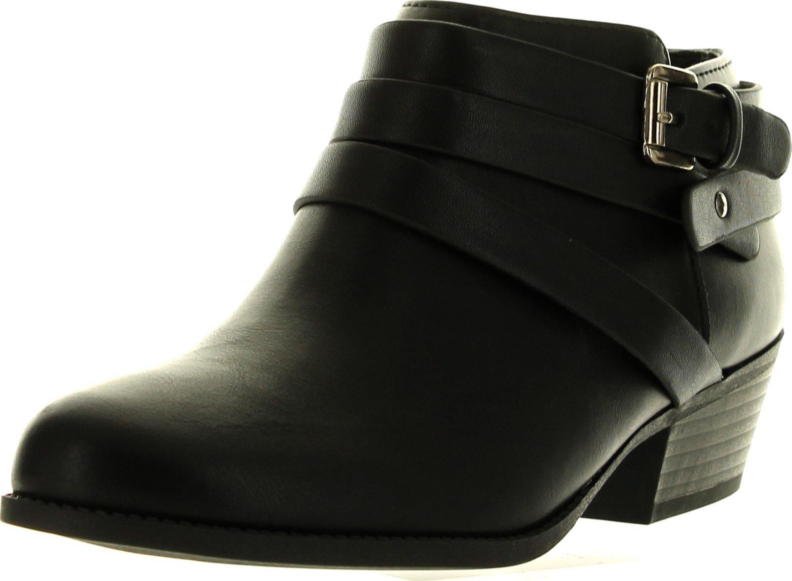 Soda Alum Womens Stylish Buckle Strap Dress Ankle Bootie,Black,7