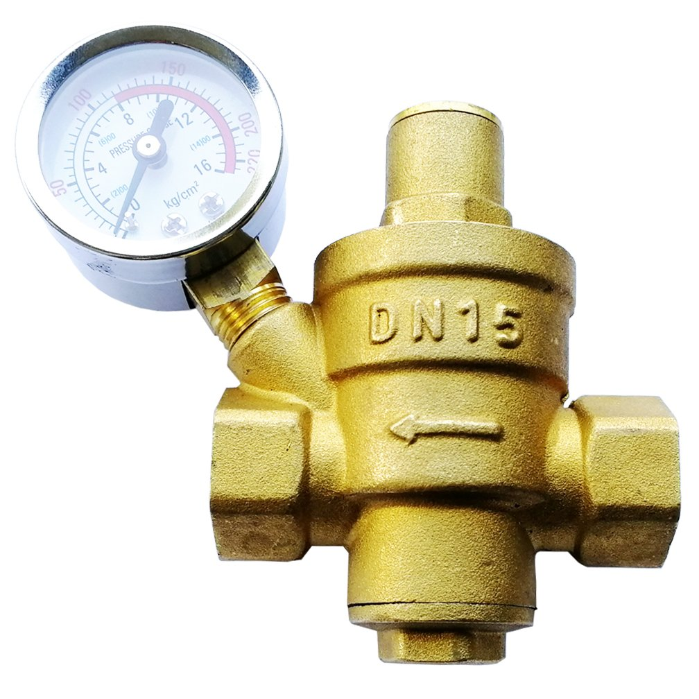 Sxstar Water Pressure Regulator Brass Lead-free Adjustable DN15 1/2inch Bspp Water Pressure Reducing Valve with Pressure Gauge Bar/Psi