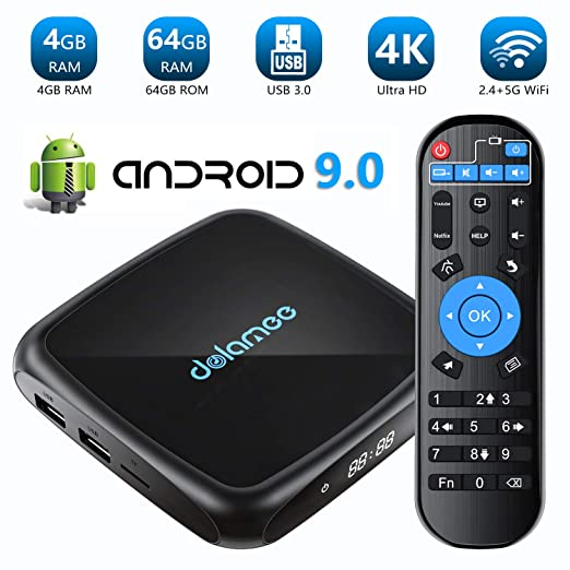 TV Box Android 9.0-4GB RAM + 64GB ROM Dolamee 4K Ultra HD Smart TV Box con Dual 2.4G y 5.0G WiFi /3D/USB 3.0/Ethernet 10M/100M/HDMI (D18(4+64))